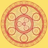 Ethnic mandala. Ethnic mandala in red. Rounded colored design. Ornament oriental Stock Image