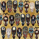 Ethnic mask seamless pattern. african tribal totem background royalty free stock photography