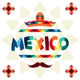 Ethnic mexican background design in native style Royalty Free Stock Images