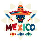 Ethnic mexican background design in native style Stock Images