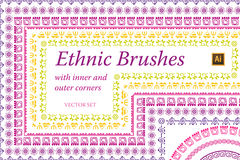 Ethnic Mexican Brushes Vector set Stock Photos