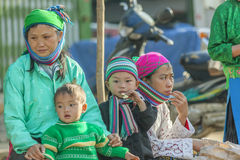 Ethnic minority people. In Dong Van market, Ha Giang province, Vietnam. Ha Giang is one of the six poorest provinces of Vietnam. Ha Giang is a famous tourist Stock Image