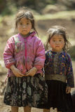 Ethnic minority two sisters, at old Dong Van market Royalty Free Stock Photos