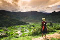 Ethnic minority woman with her son in Vietnam Stock Photos