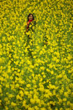 Ethnic minority women in a field of canola Royalty Free Stock Photography