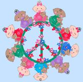 Ethnic mixed babies. Mixed ethnic babies around a peace symbol Royalty Free Stock Photo