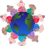Ethnic mixed babies. Around the planet Royalty Free Stock Photos