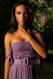 Ethnic Model. Outdoor portrait of a beautiful young ethnic model in purple dress Stock Images