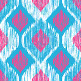Ethnic modern tribal ikat blue, white and pink fashion seamless pattern. Vector ikat background. Royalty Free Stock Images