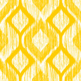 Ethnic modern tribal ikat white and yellow fashion seamless pattern. Vector ikat background. Royalty Free Stock Image