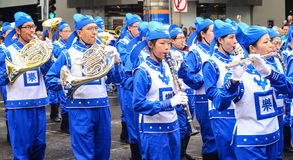 Ethnic mongolian band in parade Royalty Free Stock Photography