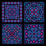 Ethnic mosaic ornamental backgrounds vector set Stock Photos