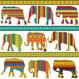 Ethnic motifs patterned elephants. Background with ethnic motifs patterned elephants vector illustration