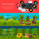 Ethnic Music Flat Horizontal Banners Set Stock Images