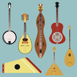 Ethnic music instruments vector set. Musical instrument silhouette Stock Image