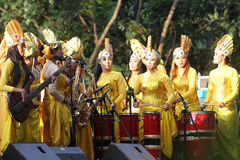 Ethnic music. Musicians are playing ethnic music in a cultural performances on the streets of the city of Solo, Central Java, Indonesia stock images