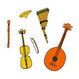 Ethnic musical folk instrument in hand drawn style. Ethnic musical folk instruments: flute pan, recorder, violin, string instrument in hand drawn style vector illustration