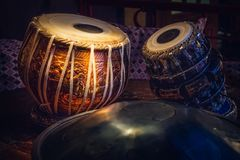 Ethnic musical instrument tabla in the interior of the chill-out Stock Photo