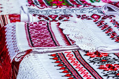 Ethnic national ornament on linen. Culture of Belarus Stock Photos