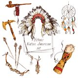 Ethnic native american set colored Royalty Free Stock Photos