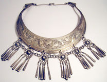 Ethnic Necklace. A necklace made of some silver colored metal. I found it at an import shop, but I'm not sure what country it's from Stock Photos