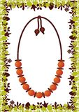 Ethnic Necklace. On jungle background. All elements are on separate layers and can be easily edited Stock Images
