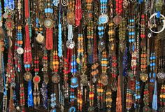 Ethnic necklaces at the village market, Morocco royalty free stock photo