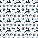 Ethnic nordic christmas seamless pattern background with deer Stock Photo