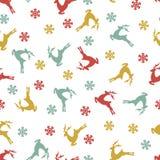Ethnic nordic christmas seamless pattern background with deer. Color christmas seamless pattern background with deer Stock Image