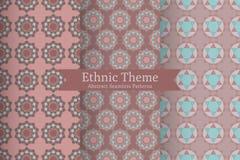 Ethnic oriental geometric seamless patterns royalty free illustration