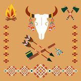 Ethnic ornament with bull skull and arrows Stock Image