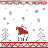 Ethnic ornament the lone stag in winter forest Royalty Free Stock Photo