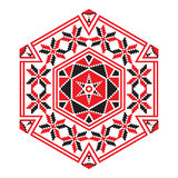Ethnic ornament mandala geometric patterns in red color Royalty Free Stock Image