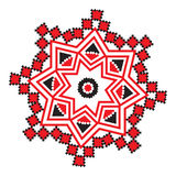 Ethnic ornament mandala geometric patterns in red color Stock Photos