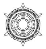 Ethnic ornament. Mexico origin. Indigenous circle tattoo emblem in tribal style Royalty Free Stock Photos