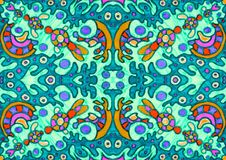 Ethnic ornament seamless pattern inspired by fusion of Ukrainian, Indian and Mexican traditional motifs vector illustration