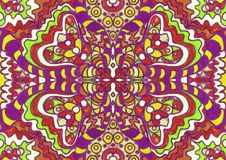 Ethnic ornament seamless pattern inspired by fusion of Ukrainian, Indian and Mexican traditional motifs stock illustration