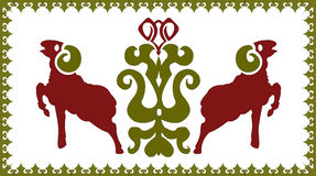 Ethnic ornament with stylized aries Royalty Free Stock Photo