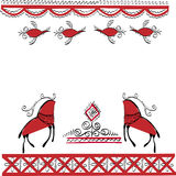 Ethnic ornament two deer and birds Royalty Free Stock Image
