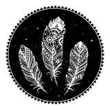 Ethnic ornamental feathers stock illustration