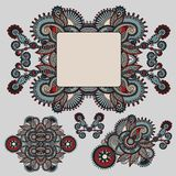 Ethnic ornamental floral adornment and frame Stock Photos