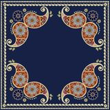 Ethnic ornamental frame with paisley. Square indian rug, bandanna Royalty Free Stock Image