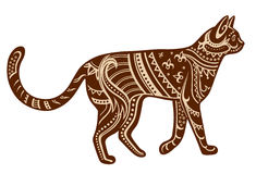Ethnic ornamented cat Stock Images