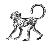 Ethnic ornamented monkey. The stylized figure of an monkey in the festive patterns Royalty Free Stock Photos