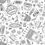 Ethnic ornate style cute monsters seamless pattern. Stock Photo