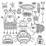 Ethnic ornate style monsters set Royalty Free Stock Images