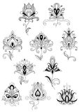 Ethnic paisley outline floral design elements Royalty Free Stock Photo