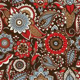 Ethnic paisley pattern with buta motifs and traditional Arabic floral mehndi elements on dark background. Motley. Decorative vector illustration for textile royalty free illustration