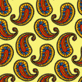 Ethnic paisley seamless pattern in vector. Endless abstract design background. Royalty Free Stock Image