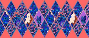 Ethnic patchwork pattern from ornamental rhombuses with female portrait Stock Images